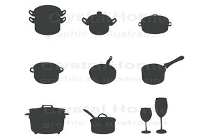 Silhouette kitchenware icon set 2