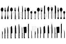 Silhouette kitchenware icon set 3