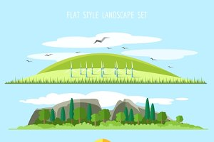 Vector flat forest landscape