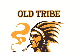 Tribal american indian vipe bar logo