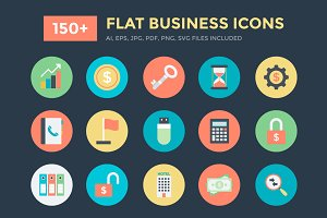 150+ Flat Business Vector Icons