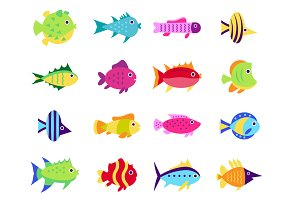 Cute cartoon fish set