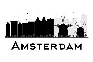 Amsterdam skyline silhouette