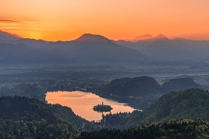 Beautiful Bled lake at sunrise light