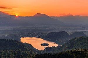 Beautiful Bled lake at sunrise light