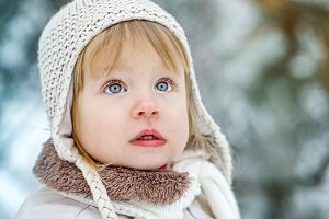 Girl walking outdoors in winter