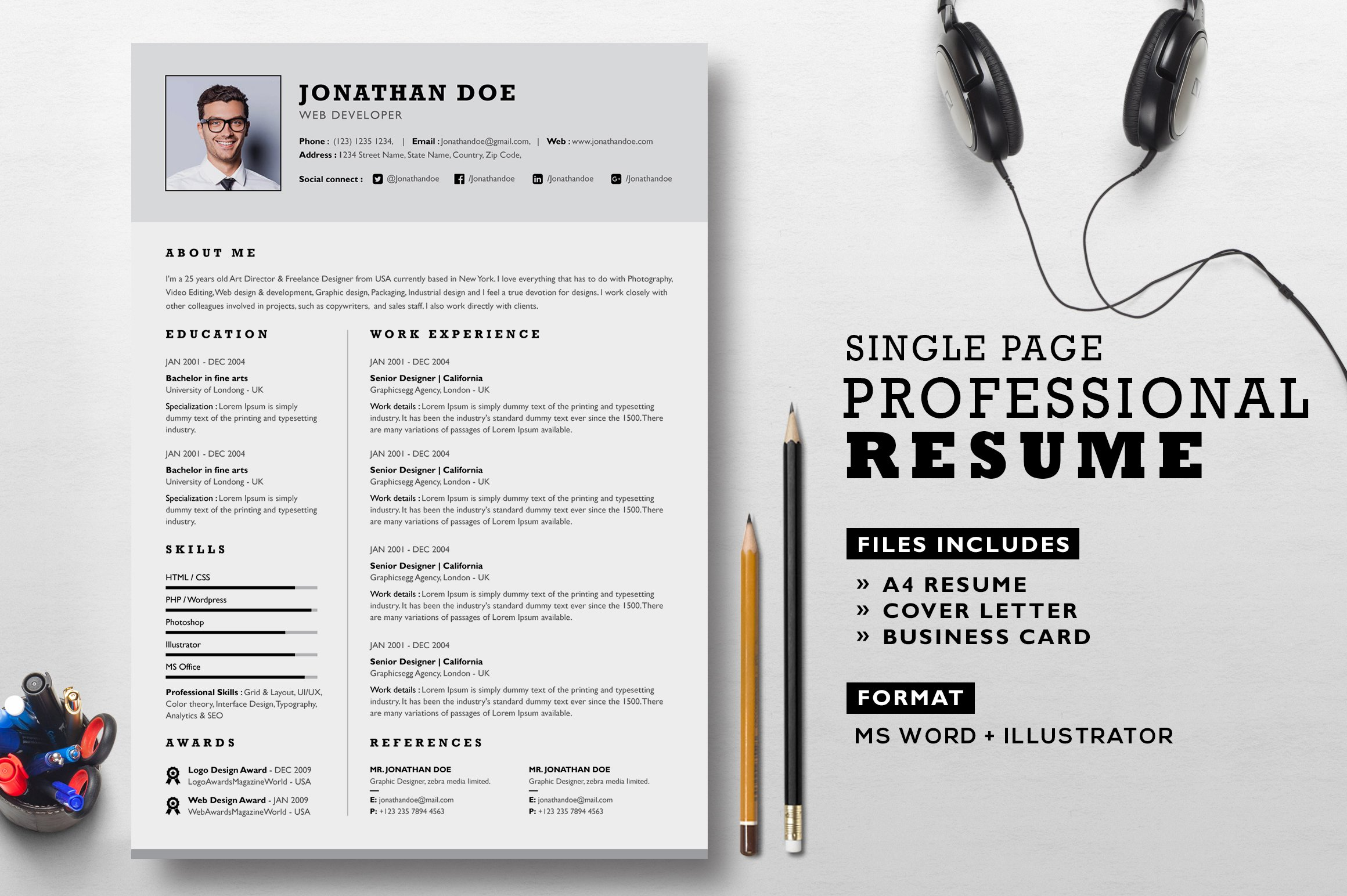 professional resume set resume templates on creative market - Professional Resume