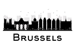 Brussels City skyline silhouette