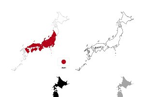 Japan country silhouettes