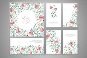 Set of hand draw floral card