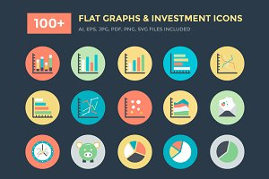 100+ Flat Graphs and Investment Icon