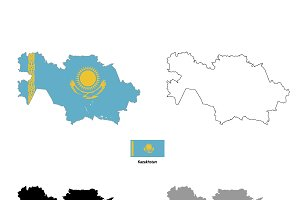 Kazakhstan country silhouettes