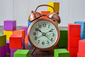 Clock and wood cube