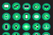 Digital devices icon set neon