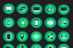 Digital devices icon set neon
