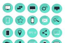 Digital devices flat icon set blue