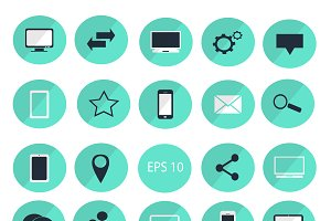 Digital devices flat icon set blue