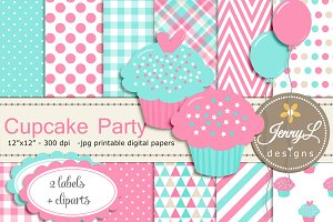 Cupcake Digital Party & Clipart