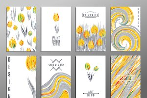 Floral spring card templates