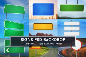 Road Sign PSD Backdrop