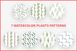 7 Watercolor Plants Patterns
