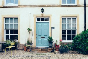 English townhouse and courtyard