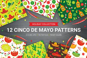 12 Cinco de Mayo seamless patterns