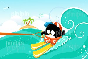 Penguin Waterskiing