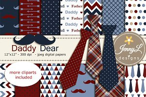 Father's Day Mustache Digital Paper