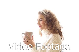 Girl drinking hot tea