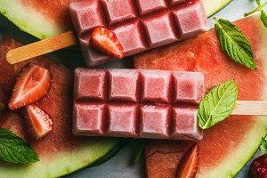 Strawberry watermelon ice cream