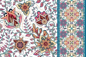 Set of seamless floral pattern