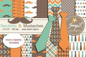 Neckties and Mustaches Digital Paper