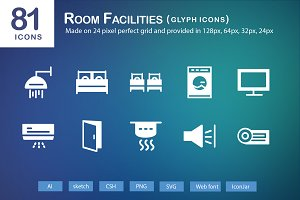 81 Room Facilities Glyph Icons