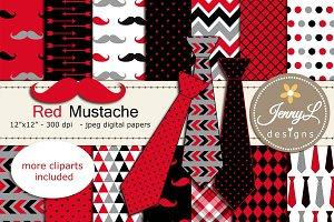 Red Mustache Necktie Digital Paper