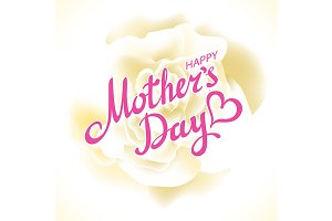 Happy Mothers Day white rose card