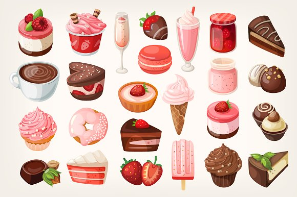 Chocolate and strawberry desserts