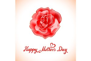 Happy Mothers Day rose vector card
