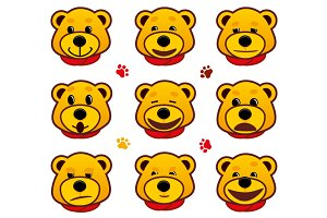 Vector emotional faces bears