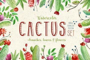 Watercolor Cactus & Florals Set