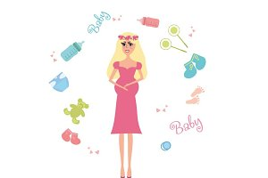 Pregnant Woman and Baby Items Set