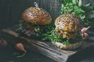 Homemade burgers with beef