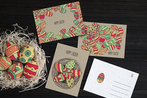 Multicolor Easter Eggs Cards