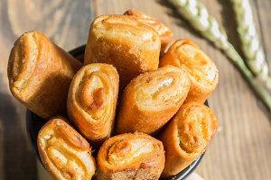 Bunch of rolls with vanilla cream