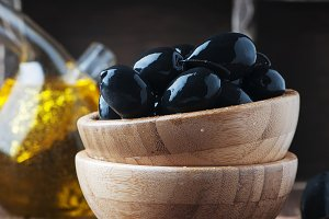 Black italian olives on the table