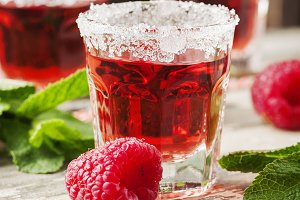 Red sweet cocktail, square image