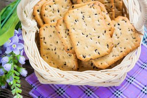 crackers in basket.