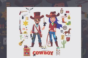 Cowboy and cowgirl character design