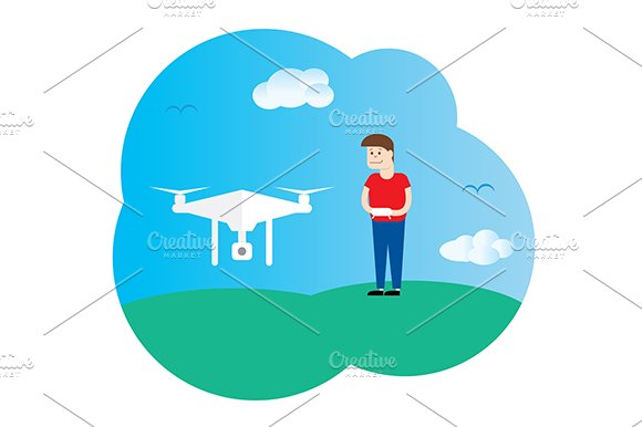 Drone And Boy Vector Template