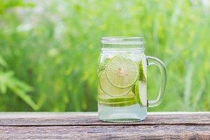 Lemon lemonade in glass.